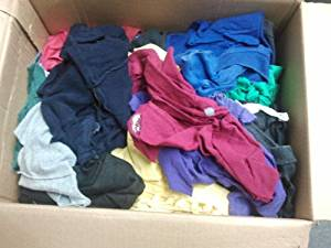 10 LBS BOX OF MULTI COLORED WIPING PALS RAGS, LOW LINT, POLO T-SHIRTS, FLEECE BY PLEZALL WIPERS