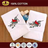 high-grade100%cotton white hotel towel with lucky bird embroidered