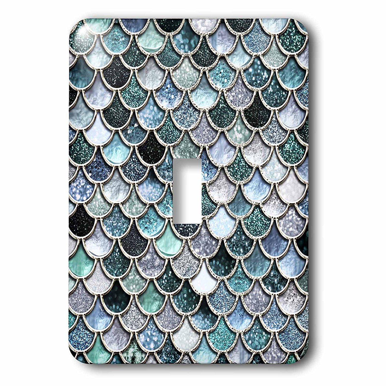3dRose Uta Naumann Faux Glitter Pattern - Multicolor Girly Blue Luxury Elegant Mermaid Scales Glitter - Light Switch Covers - single toggle switch (lsp_272863_1)