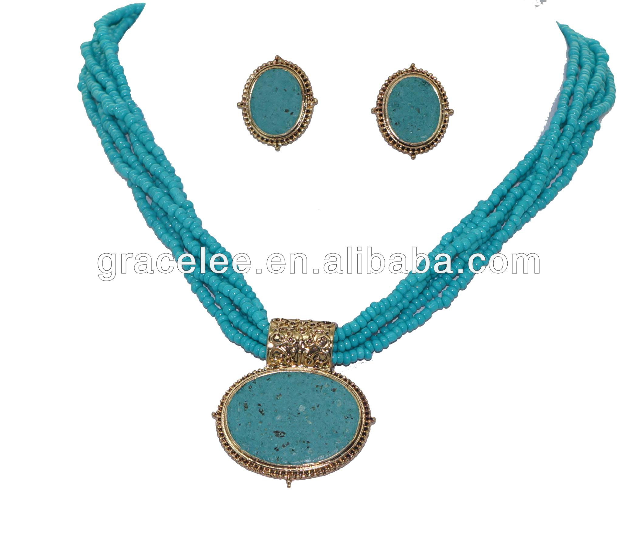 Turquoise epoxy seed bead necklace set