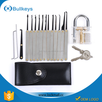 Bullkeys locksmith tools Transparent Practice Padlock+12pcs lock pick set for Locksmith LP0045
