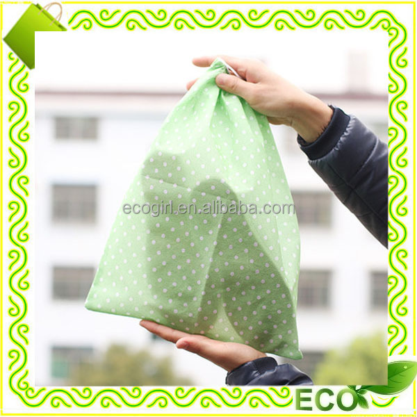 reusable silk screan printing going green eco-friendly non woven plastic drawstring shoe bags