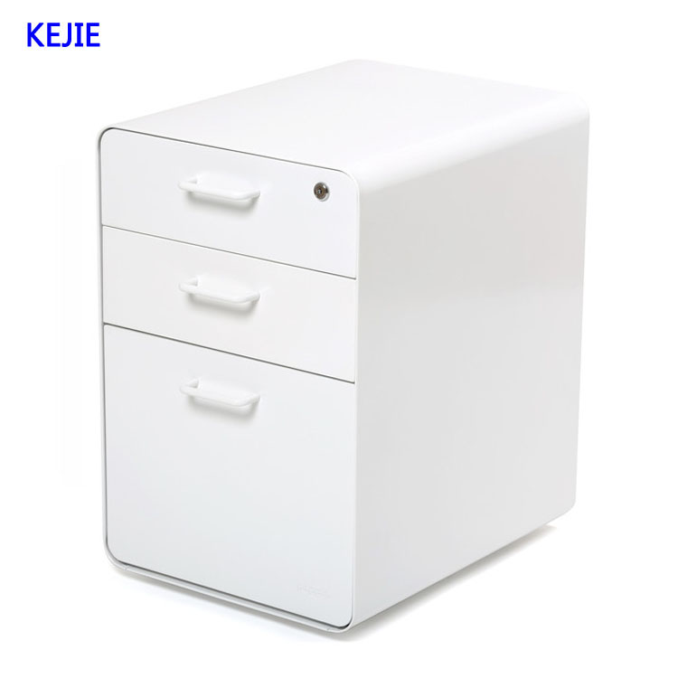 Office Desk Lateral Moving Pedestal Filing Cabinet Mobile Storage Hanging Round Drawer With 4 Wheels