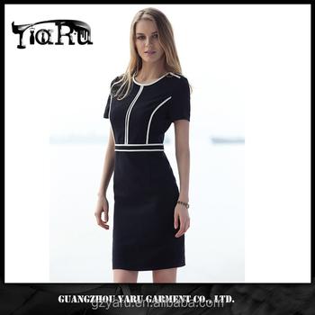 1e1caa59a Offical señora casual bodycon corto vestido elegante clásico estilo  Guangzhou fábrica todo tipo de señoras vestidos