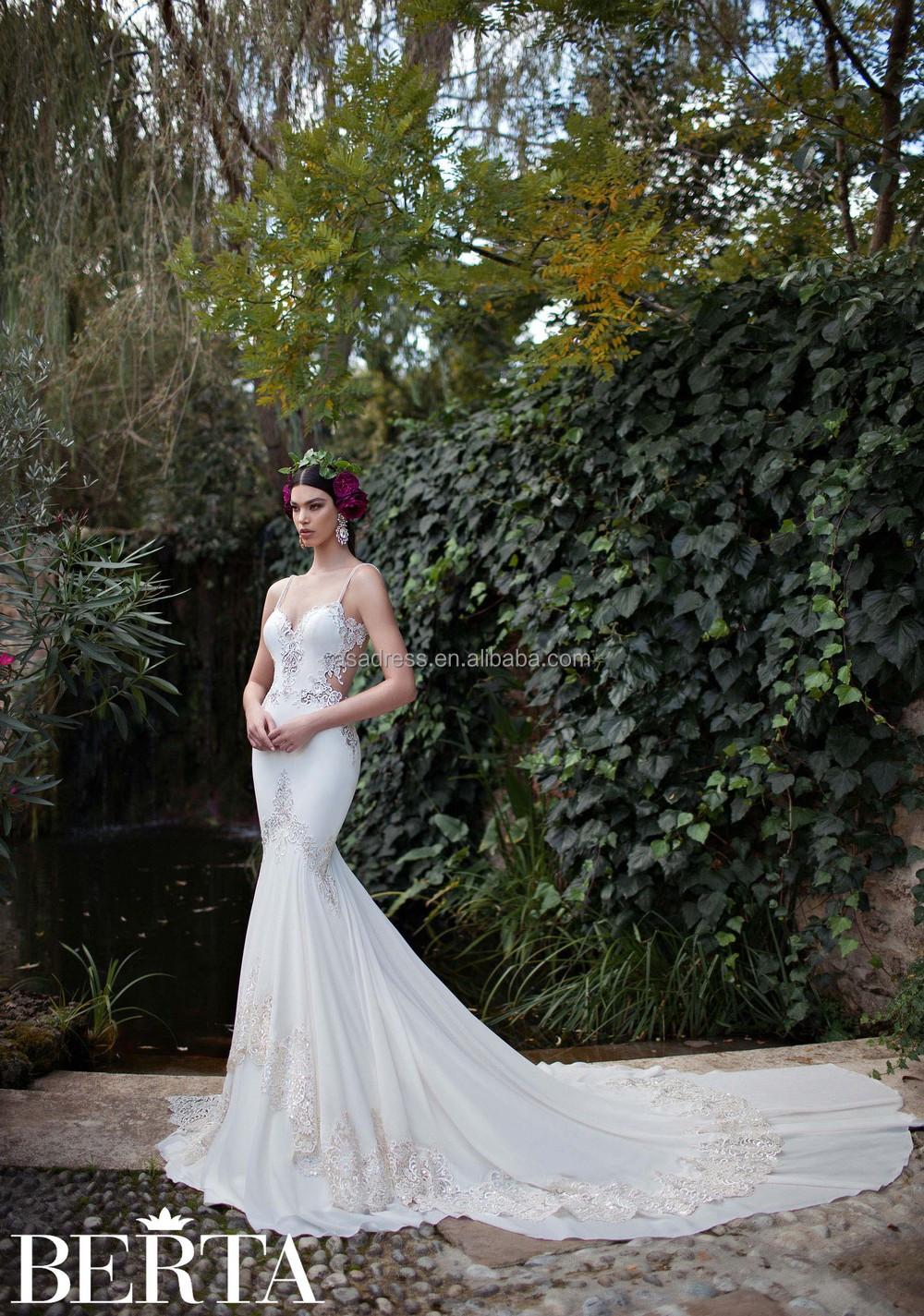 73af5eb341a2 Latest Modern High Quality Sexy Mermaid Wedding Dress Berta Bridal Low Back  Sheer Lace Appliqued Wedding