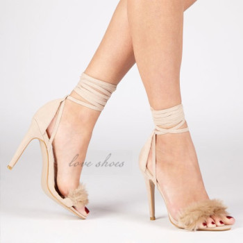 db7e6fbbb57de Nude Faux Suede Fluffy Strappy High Heels Ladies Lace Up Stiletto sandals  women shoes 2017