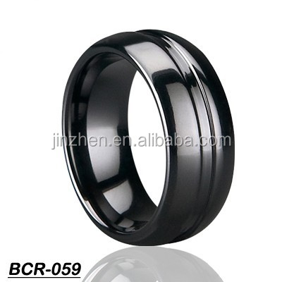 Black Tungsten Wedding Bnad Ring Domed Grooved Design Fashion Men's Jewelry
