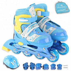 Top Selling Light Up Wheels Inline Skates Rolloer Shoes Skating Skiing for Children with Helmet and Protection