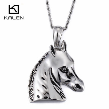 Kalen Stainless Steel Horsehead Pendant Necklace Fit Men Accessories 2018