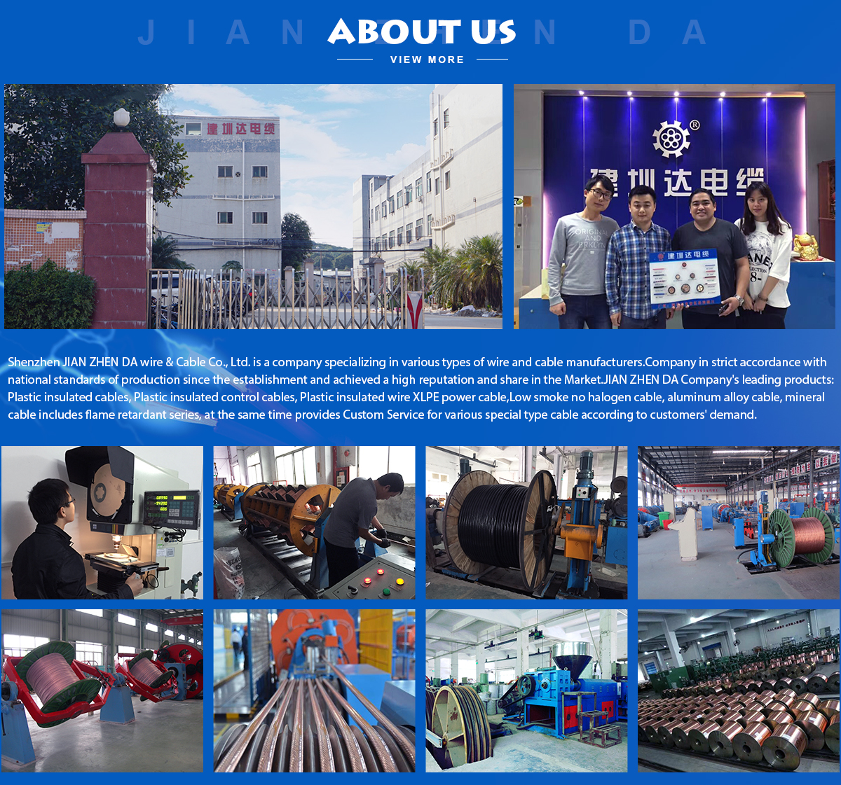 Shenzhen Jianzhenda Wire And Cable Co Ltd Plastic Insulated China Copper Pvc Electric H07vr H07vk Photos Containing Flame Retardant Fire Resistant Productsthe Application For Certification Passed The Quality Management System Based