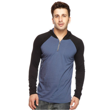 Zip Up Men Hooded T-shirt Long Sleeve - Buy Men Hooded T-shirt ...