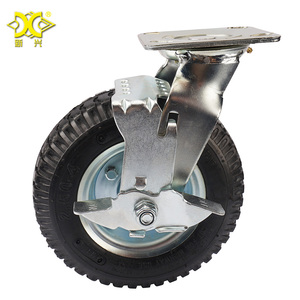 Heavy Duty Industrial Steel Plate Swivel Roller Casters 8 inch Rubber Pneumatic Rigid Wheels with Side Brake