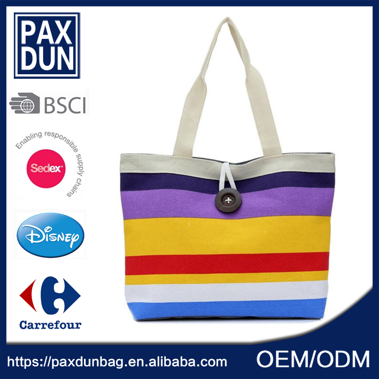 hot selling rainbow colored canvas <strong>Tote</strong> Bag Cloth