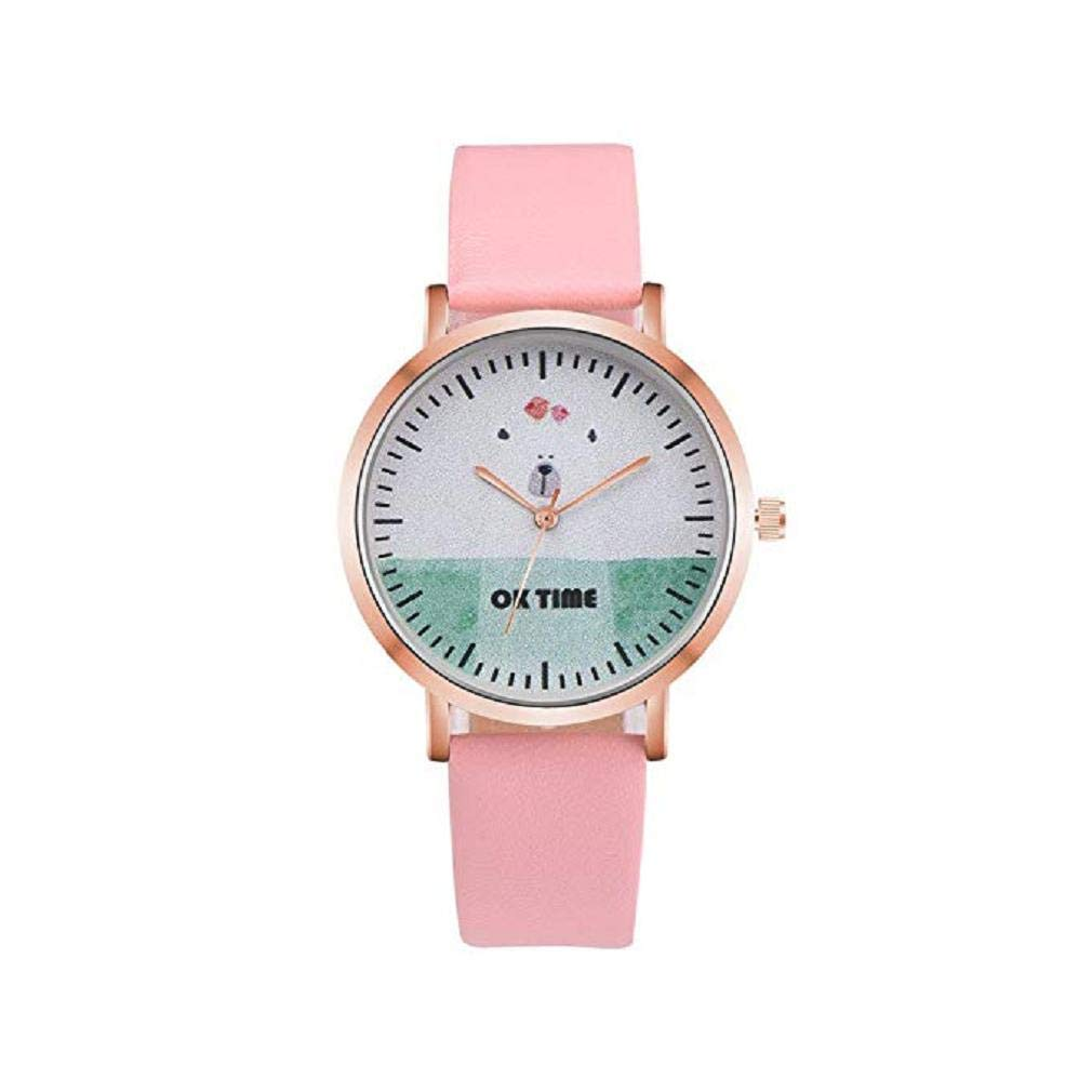 Big Promotion Windoson Women Quartz Watches Clearance Analog Ladies Wrist Watches Girl Watches Leather Female Watches (Pink)