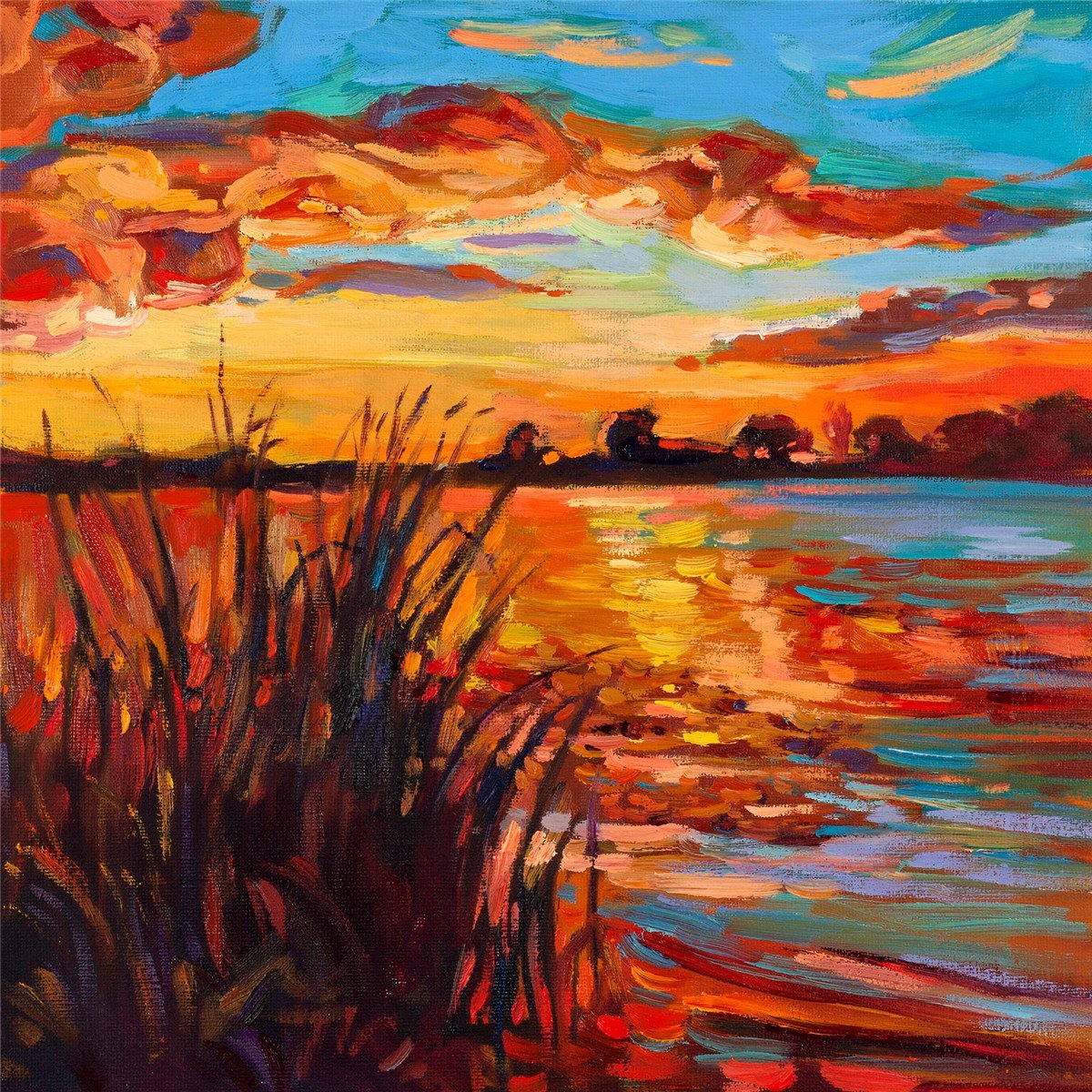 Get Quotations · ArtKisser Modern Artwork Sunset Reed Ocean Landscape Oil  Painting Canvas Prints Wall Art For Home Office