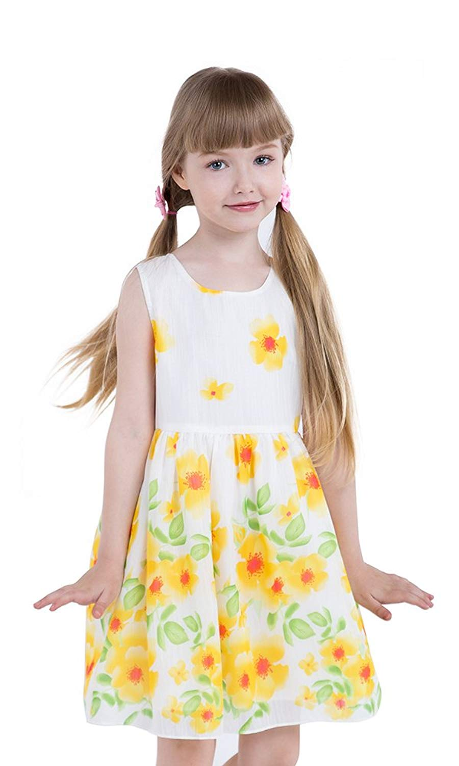 87b2100b2ca89 Get Quotations · JI Little Girls Floral Dresses Yellow Sunflower Dress  Summer Casual Dress for Girls and Kids Size