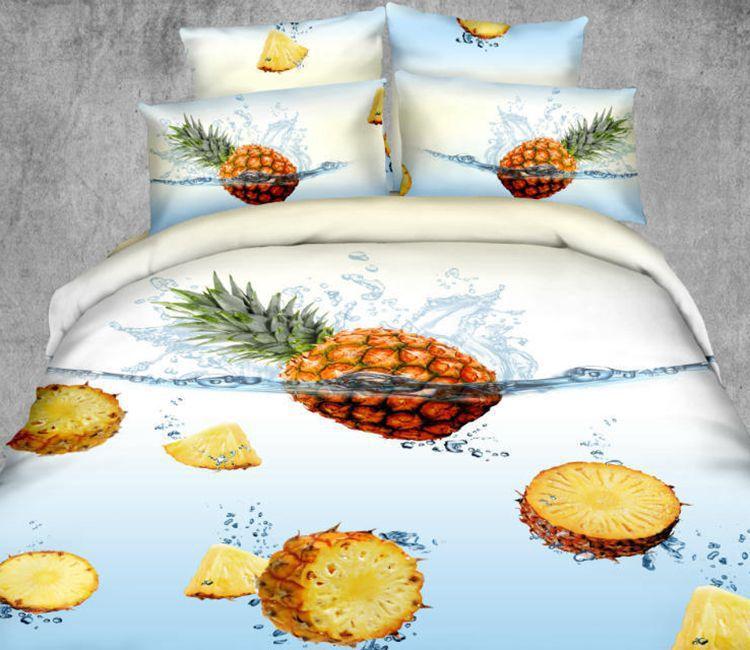 3d ananas designer literie douillette queen couvre lit. Black Bedroom Furniture Sets. Home Design Ideas