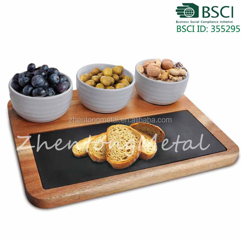 food contact natural slate plate wood inlay