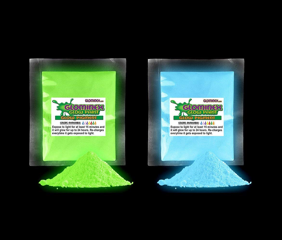 Novelty Light Up Paint Glominex Glow Pigment 1oz Green and 1oz Blue