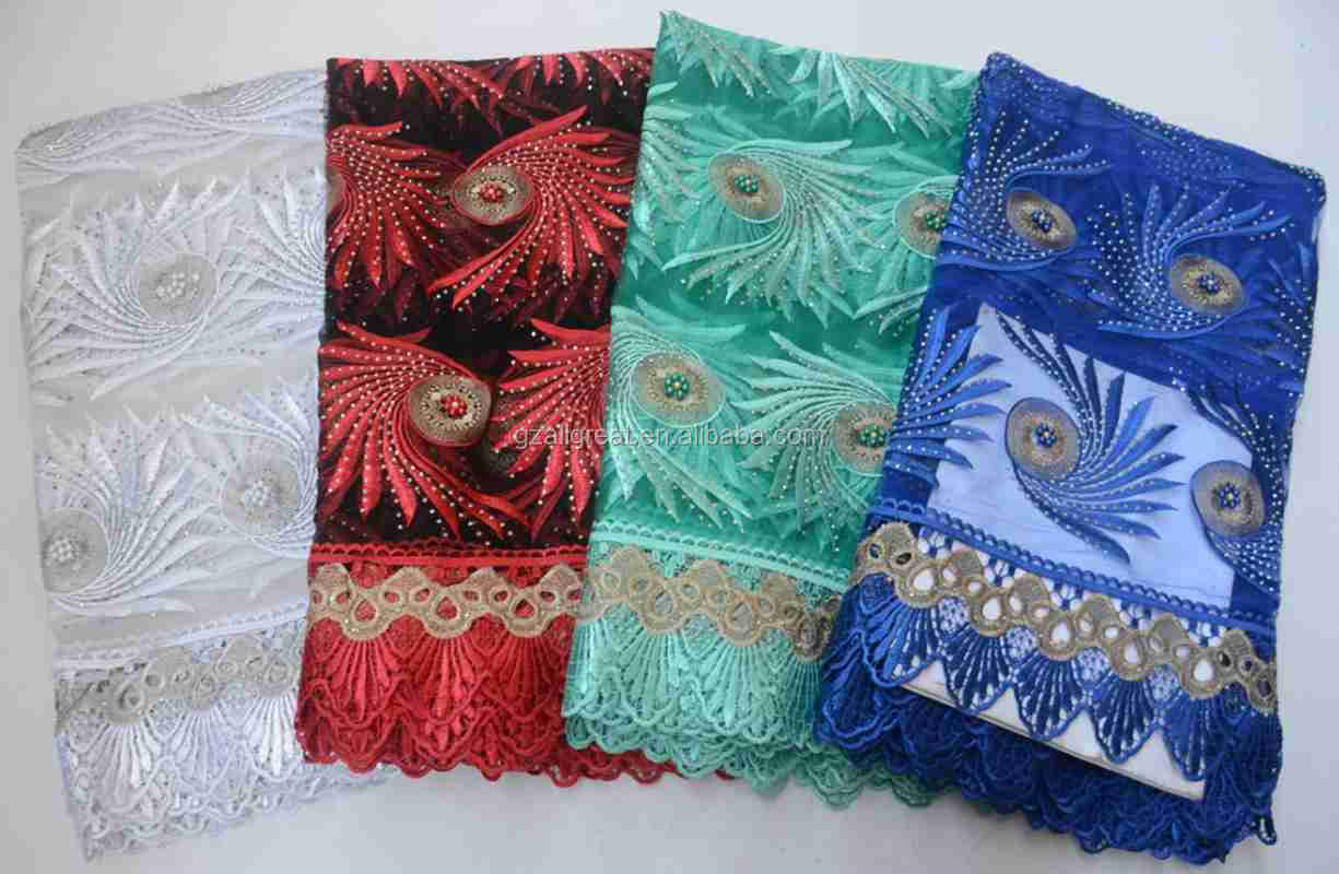 AG6897  fashion style african french fabric stone embroidered net lace