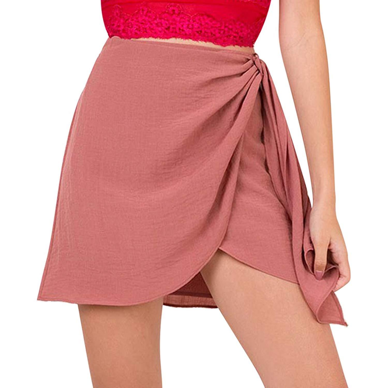 1e91320a6be4e Get Quotations · Là Vestmon Women's Summer Tie up Beach Short Skirts  Vintage High Waist Halter Skirts Bodycon Wrap