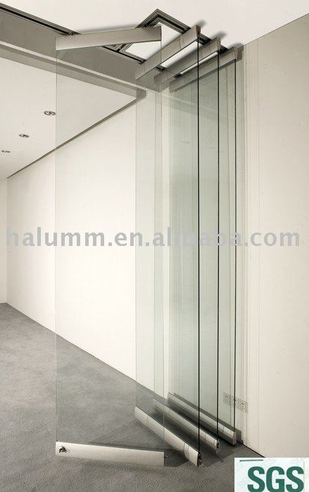 Full height single glass foldable frameless glass wall partition