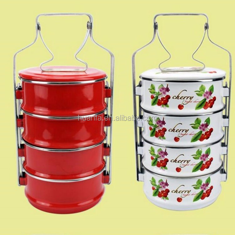 Malaysian Style 4 Schichten Emaille Decal Food Carrier 100% Emaille Tiffin Lunchbox