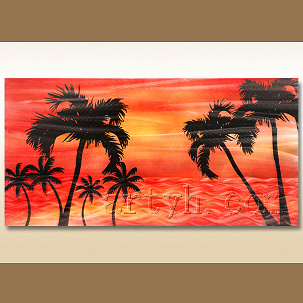 Newest Design Sunset Metal Wall Art Of Tree Sdow Beach Aluminum Painting Commerce