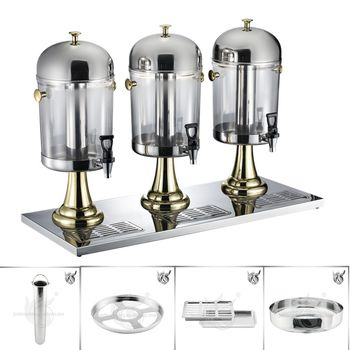 Moderne Ontwerp Hot Goud Zilver Metalen Rvs 3 Tank Juicer Drank Dispenser
