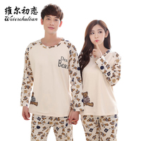 OEM service long sleeve polyester casual funny couple cartoon pajamas