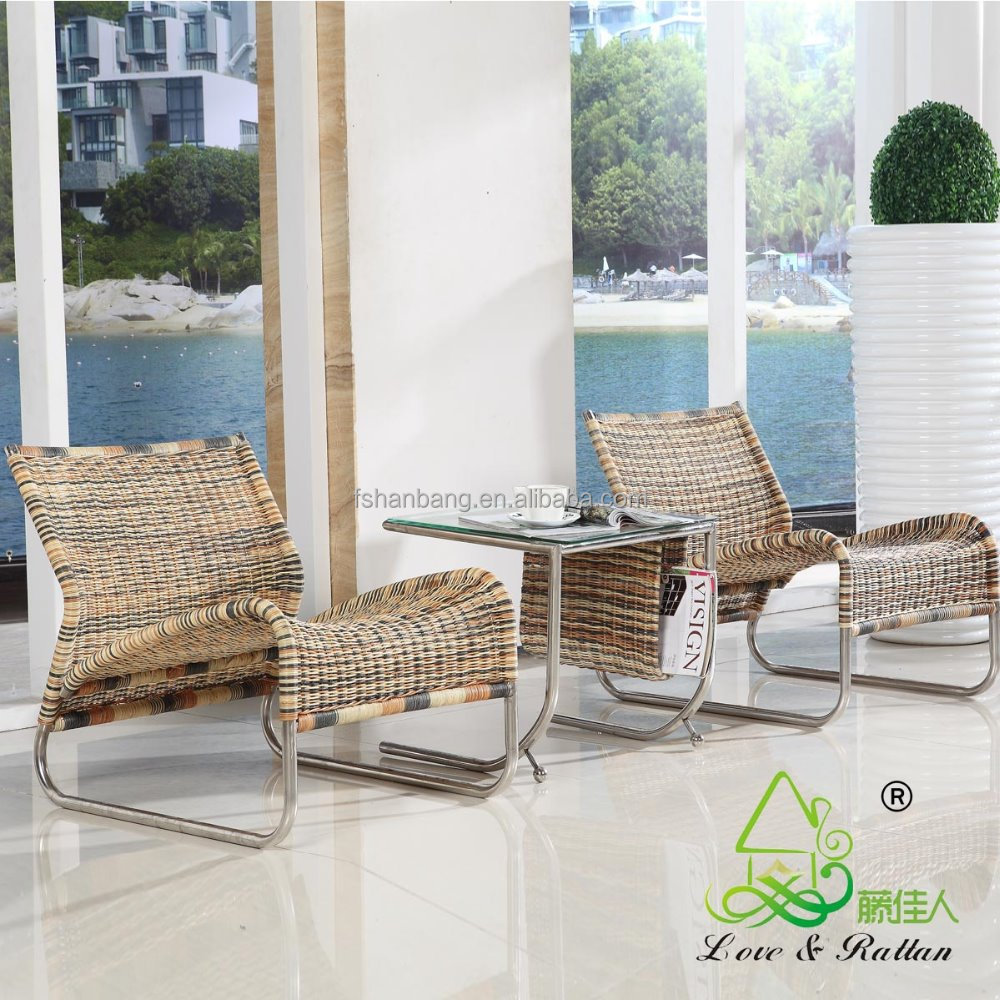 - Elegant Light Weight Hotel Spa Indoor Rattan Wicker Living Room