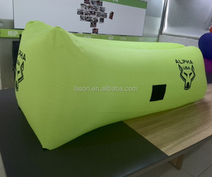 Goo quality ripstop nylon TPU inflatable air filling sleeping bag with side pocket and cup holder