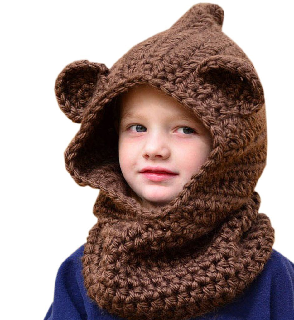 54ed4424d39 Sumolux Winter Kids Warm Bear Hats Knitted Coif Hood Scarf Hat for Autumn  Winter