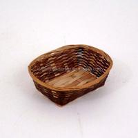 Rustic rectangular bamboo rattan gift basket for promotional gift