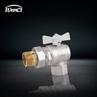 DN15 - DN25 PN25 Cw617n or HPB59-3 FxF Butterfly Handle Brass angle ball valve with Union