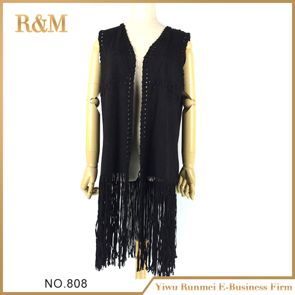 Newest suede fabric engraved design women vest shawl