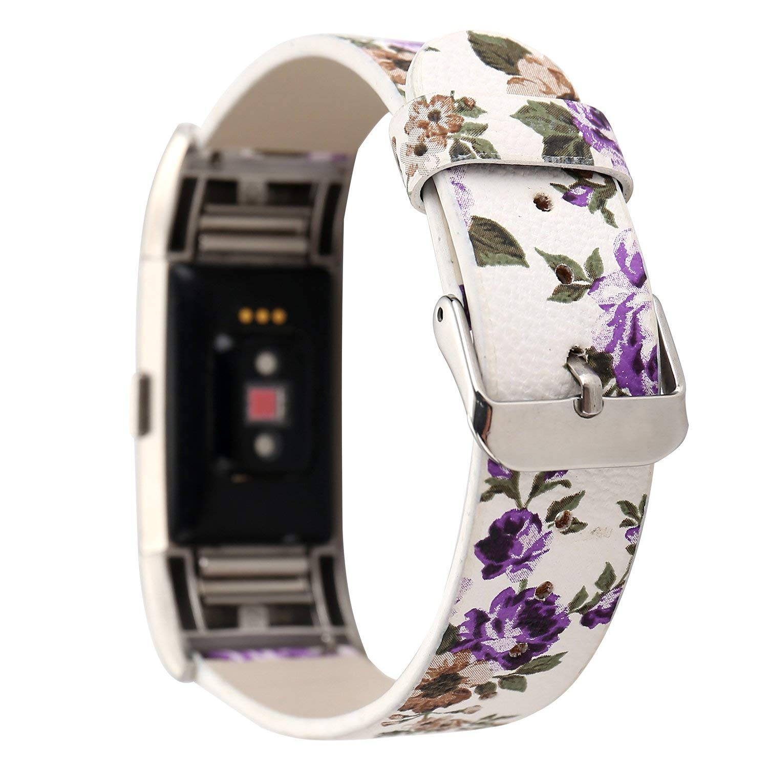 For Fitbit Charge 2 Band - SHANSHUIYIPIN Fitbit Charge 2 Strap for Women ,Genuine Leather Replacement Bands for Fitbit Charge 2 ,Fitness Replacement Bands for Fitbit Charge 2 (Violet)