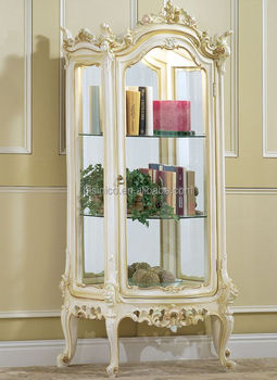 Superieur French Style Vintage Solid Wood Glass Curio Display Cabinet