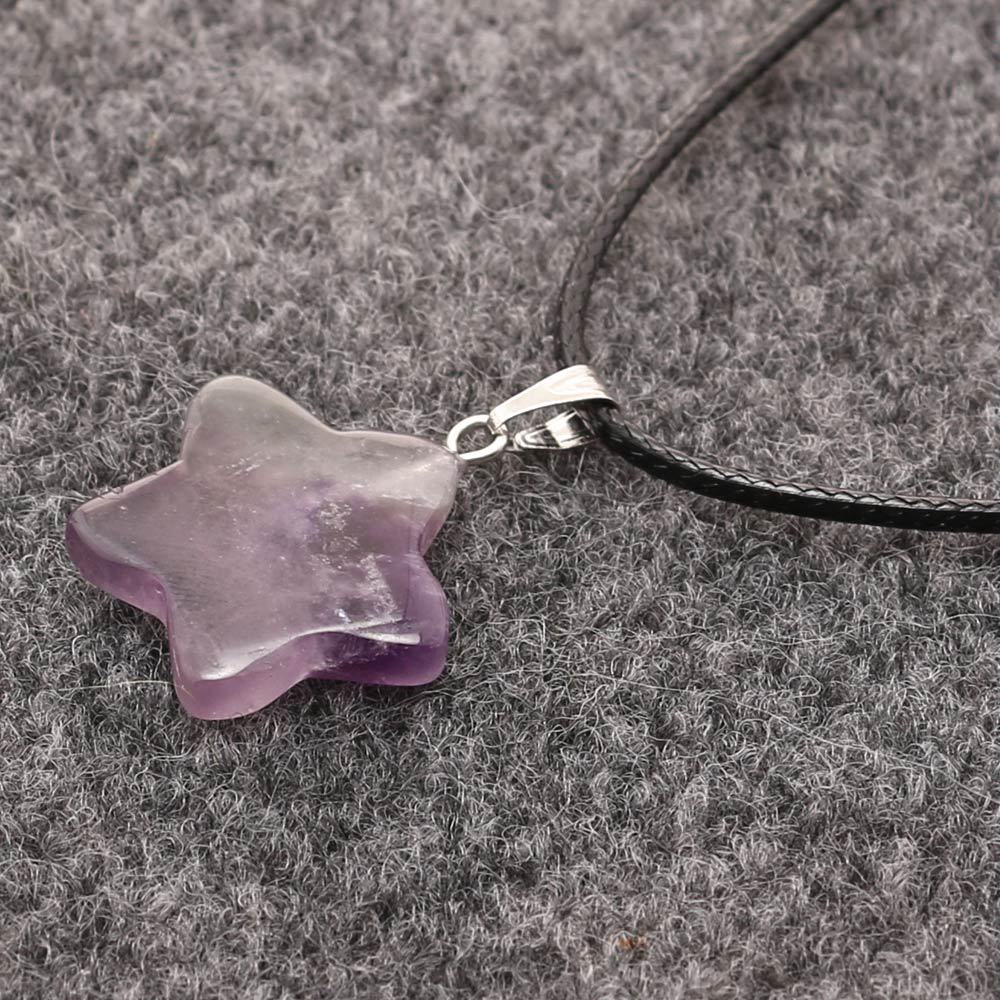 gemstones <strong>natural</strong> <strong>Amethyst</strong> crystal stone <strong>Pendants</strong> with chain REKI healing stone necklace crystal craft star-shaped necklace