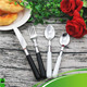 Christmas Gift Bulk Stainless Steel Black Handle Flatware with Plastic Handle