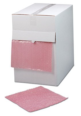 """12"""" x 175' Sealed Air Anti-Static Strong Grade Bubble Wrap Brand Cushioning in a Dispenser Box - Pink Tinted (3/16) - AB-505-63-02"""