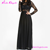 2017 Latest Design Black Long Sleeve Lace Maxi Dress