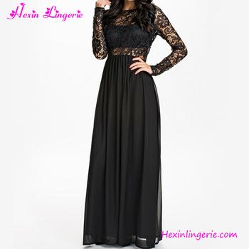 0b17bc9d64 2017 Latest Design Black Long Sleeve Lace Maxi Dress - Buy Long ...