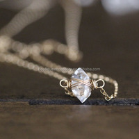 Herkimer Diamond Necklace Dainty Layering Crystal Quartz Solitaire Caged Herkimer Choker Jewelry