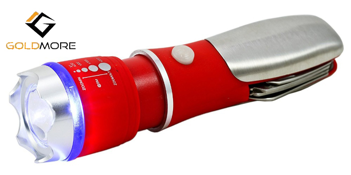 RED ABS and Stainless steel mini tool Telescopic Led l flashlight torch
