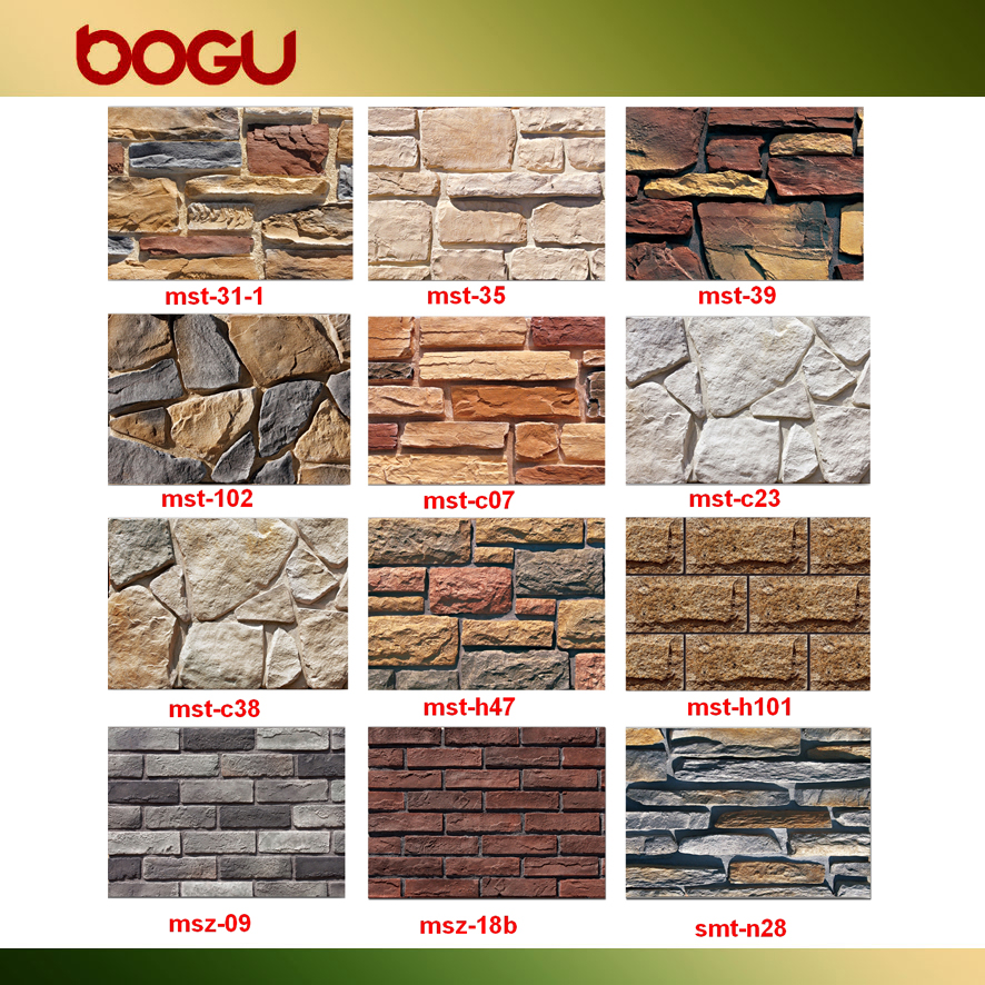 Fake Faux Stone Facade Wall Siding Ceramic Cladding Tile With Wood Pallet