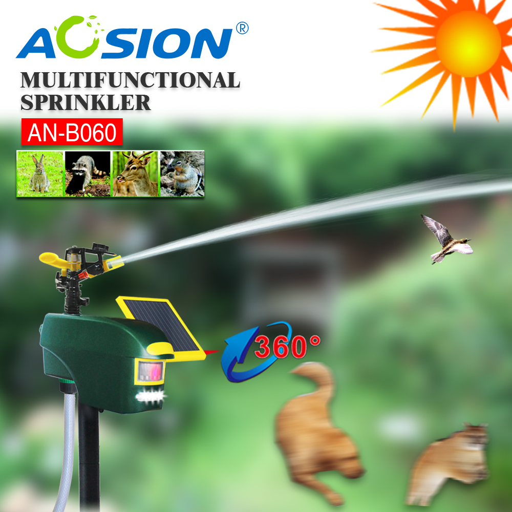 Aosion motion activated sprinkler with led flash to scare birds,dogs,cats,possums ect