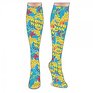 f5731b98e8d Get Quotations · DC Comics WONDER WOMAN All-Over Sublimated Print KNEE-HIGH  SOCKS