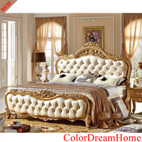 Luxury Antique Home Bedroom Furniture French Style Solid Wood Bed Classic Gold color bed
