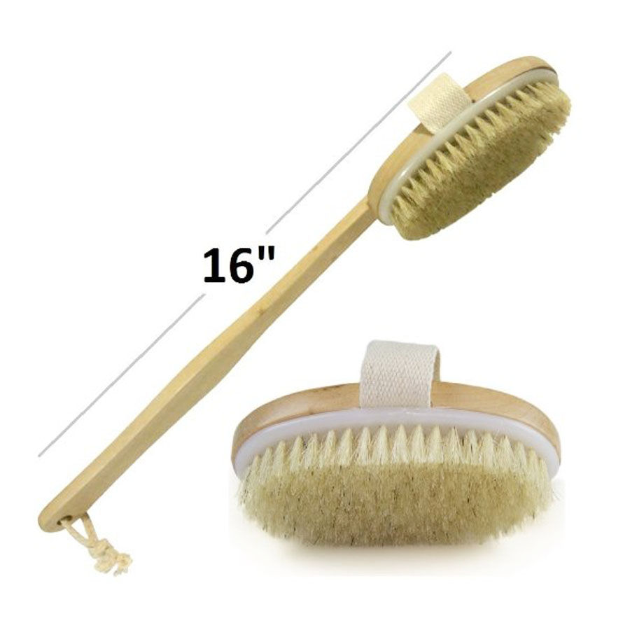 Back Scrubber for Skin Exfoliating and Cellulite | Bamboo Bath Brush with Long Handle | Shower Bath for Men and Women